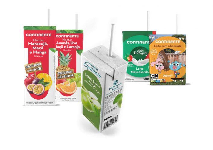 Palhinhas em papel nos produtos de marca Continente